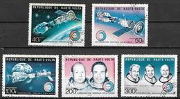 ALTO VOLTA 1975 COOPERAZIONE SPAZIALE U.S.A. - U.R.S.S. YVERT. 359-360+POSTA AEREA 193-195 USATA VF - Alto Volta (1958-1984)