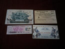 LOT DE 4 BILLETS DE LOTERIE - Billets De Loterie