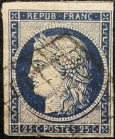 FRANCE Y&T N°4h Cérès 25c Bleu Noir. Oblitéré Grille - 1849-1850 Cérès
