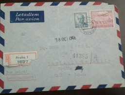 O) 1948 CZECHOSLOVAKIA, PLANE OVER CHARLES BRIDGE-PRAGUE SCT C26 24k, STEFANIK BENES MASARYK SCT 297 4k - AIRMAIL REGIST - Czechoslovakia