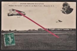 """LE HAVRE -- Madame """" De Laroche """" En Plein Vol, Sur Biplan Voisin En 1910_ Avion _ Semaine D'Aviation _ Moteur E.N.V. - ....-1914: Précurseurs"""