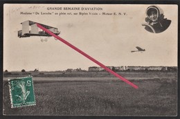 "LE HAVRE -- Madame "" De Laroche "" En Plein Vol, Sur Biplan Voisin En 1910_ Avion _ Semaine D'Aviation _ Moteur E.N.V. - ....-1914: Vorläufer"
