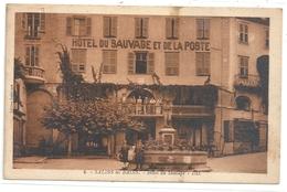 """SALINS-les-BAINS . HOTEL DU """" SAUVAGE ET DE LA POSTE """" ( Aujourd'hui """" Des Deux Forts """" ) TRES ANIMEE AFRR LE 28-8-1938 - France"""