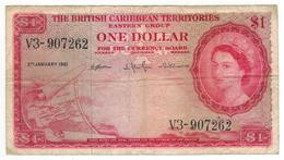 British Caribbean Territories, 1 Dollar 1961, USED, See Scan . Free Ship. To USA. - Banknotes