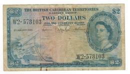 British Caribbean Territories, 2 Dollars 1963, USED, SEE SCAN.  Free Ship. To USA. - Banknotes