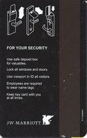JW Marriott Hotel Room Key Card With No Insert Arrow - Hotel Keycards