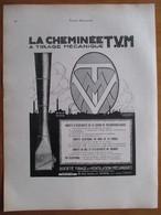 1926 - Tirage Mécanique D'usine  - La Cheminée TVM   - Page Originale ARCHITECTURE INDUSTRIELLE - Architecture
