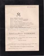 HUY Jules DODEMONT Banquier 1898 Famille DELLOYE WILMOTTE PREUD'HOMME DRESSE Faire-part Mortuaire - Décès