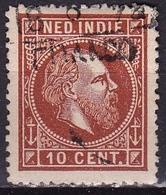Ned. Indië: 1870 Koning Willem III 10 Cent Bruin Lijntanding 14 Kl.g. NVPH 9 A - Indes Néerlandaises