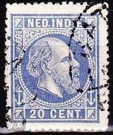 Ned. Indië: 1870 Koning Willem III 20 Cent Ultramarijn Lijntanding 14 NVPH 12 A - Indes Néerlandaises