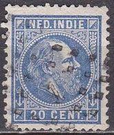 Ned. Indië: 1870 Koning Willem III 20 Cent Blauw Kamtanding 12½ : 12 Gr G.  NVPH 12 F - Indes Néerlandaises