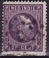 Ned. Indië: 1870 Koning Willem III 25 Cent Violet Lijntanding 13¼ : 14 Gr. G.  NVPH 13 D - Indes Néerlandaises
