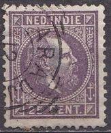 Ned. Indië: 1870 Koning Willem III 25 Cent Donkerpaars Kamtanding 12 ½  : 12  Gr. G.  NVPH 13 F - Indes Néerlandaises