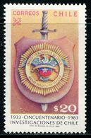 AJ0869 Chile 1983 National Regulation Bureau Police Badge 1V MNH - History