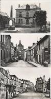 3 Cartes Postale Ancienne Glacée De La Trinité Porhoet L'hotel De Ville ,la Rue Rennaise Et La Place Du Martray - France