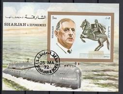 """Sharjah 1972 Bf. 95 De Gaulle Sheet Imperf. CTO Giovanna D'Arco Sottomarino """"Le Redoutable"""" - Seconda Guerra Mondiale"""