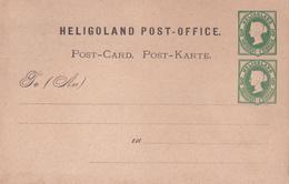 Entier Postal Stationery - Héligoland - 1875 - Double Timbre - Embossed - Héligoland
