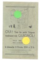 LIEGE, Affiche ( +/- 14 X 22 Cm) Théâtre De Marionnettes , GUIGNOL Enfant,... 1934 (b243) - Publicités