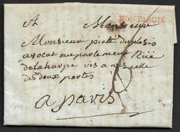 1781 - LAC - MONTARGIS 27mm X 3mm En Rouge (Loiret) - Marcophilie (Lettres)