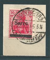 Saar MiNr. 6 Briefstück, Vollstempel: SAARBRÜCKEN 4 MALSTATT   (0492) - 1920-35 Saargebiet – Abstimmungsgebiet