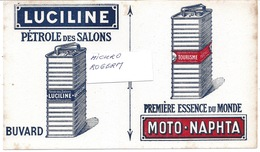 Buvard LUCILINE - PETROLE Des SALONS De MOTO-NAPHTA -1ère ESSENCE Du Monde  310119 - Buvards, Protège-cahiers Illustrés