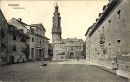 Cp Weimar In Thüringen, Burgplatz Mit Uhrenturm, Residenzcafe - Germany