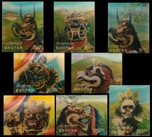 BHUTAN 1976-Ceremonial Masks-8 Different, 3-D Stamps (Plastic Surfaced) - Bhutan
