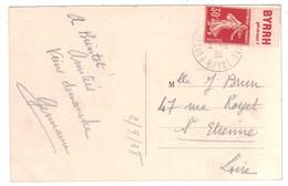1938 - PUBLICITÉ BYRRH Sur TIMBRE SEMEUSE N° 160 ISSU DE CARNET Sur CP DE PONTCHARRA ISERE - Advertising