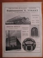 1926 - Construction Usine Blanc Mesnil & Montrouge - Ets VINANT  - Page Originale ARCHITECTURE INDUSTRIELLE - Architecture