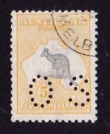 Australia 1918 Kangaroo 5/- 3rd Watermark Perf OS CTO - White Flaw On Leg - 1913-48 Kangaroos