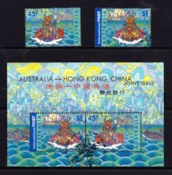 Australia 2001 Dragon Boat Racing - Hong Kong Joint Set Of 2 + Minisheet Used - Used Stamps