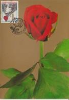Tchécoslovaquie Carte Maximum Fleurs 1982 Rose 2487 - Cartas