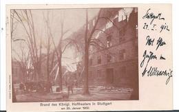 Wtb221 / Stuttgart Hoftheater Brand 20. Jan. 1902. Früstverwendung Der Karte 1 Tag Später - Allemagne