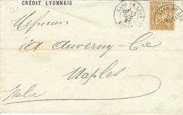 1881- Enveloppe à En-tête Du Crédit Lyonnaisnnais Affr. N° 92 SEUL Oblit. GARE DE LYON / Rhône - Marcophilie (Lettres)