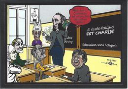 CPM Charlie Hebdo Jihel Tirage Signé 30 Exemplaires Numérotés Signés Jules Ferry école - Glaube, Religion, Kirche