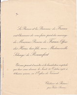CHATEAU DE PREAUX PAR VRON SOMME  -  FAIRE PART MARIAGE DE MONSIEUR RENOM DE FRANCE (1928) - Wedding