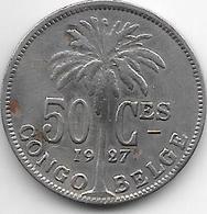 Belgium Congo 50 Centimes 1927 French Km 22  Vf - 1910-1934: Albert I