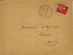 1937- Enveloppe De Mauléon D'Armagnac ( Gers )  Cad Facteur-receveur  Sur 50 C Paix - Postmark Collection (Covers)