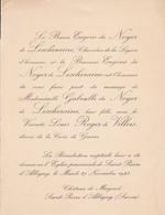CHATEAU DE MINJOUD SAINT PIERRE D ALBIGNY  -  FAIRE PART MARIAGE DE Melle GABRIELLE DU NOYERBDE LESCHERAINE (1923) - Wedding