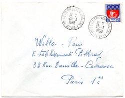 AUBE - Dépt N° 10 = St PARRE (pour PARRES) Les VAUDES  1968 = CACHET A9 ANNEXE 1 - Postmark Collection (Covers)