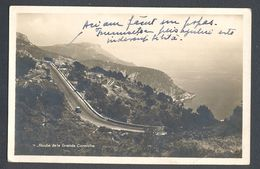 BUGLE-POSTHORN CANCELL ON GRANDE CORNICHE ROAD POSTCARD, BERTHELOT FRENCH STAMP, 1932, ROMANIA - Otros