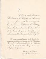 CHATEAU DE VOGLANS PAR LE VIVIERS SAVOIE   -  FAIRE PART MARIAGE DU COMTE JACQUES SALTEUR DE LA SERRAZ(1924) - Wedding