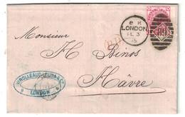 1875 - LETTRE DE LONDRES LONDON CACHET D'ENTRÉE ANGLETERRE PAR AMBULANT CALAIS Pour LE HAVRE PD ROUGE - 1849-1876: Période Classique