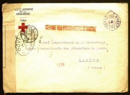 RARE LETTRE CROIX ROUGE JAPONAISE POUR GENEVE + CENSURE- CAD TOKIO 1918 + VIGNETTE- 2 SCANS - Militaria