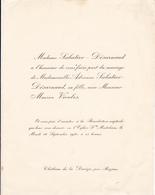 CHATEAU DE LA DEVEZE PAR BEZIERS  -  FAIRE PART DE MARIAGE DE Melle ADRIENNE SABATIER DESARNAUD 1930 - Wedding
