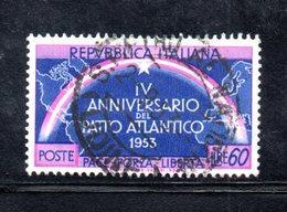 XP1708 - REPUBBLICA 1953 , 60 Lire N. 724 Usato  Patto Atlantico : Varietà Doppia Stella - 6. 1946-.. Repubblica