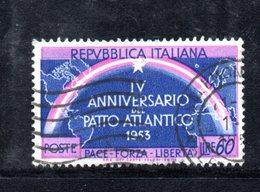 XP1719 - REPUBBLICA 1953 , 60 Lire N. 724 Usato  Patto Atlantico : Varietà Doppia Stella - 6. 1946-.. Repubblica