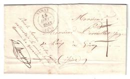 """1843 - LETTRE LOCALE LAC De VARACIEUX Avec SIGNATURE DU MAIRE """" POUR LE SERVICE DE LA GARDE NATIONALE """" Pour VINAY ISERE - 1801-1848: Precursors XIX"""