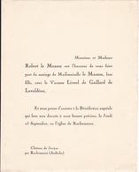 CHATEAU DE JOVYAC PAR ROCHEMAURE ARDECHE -  FAIRE PART MARIAGE DE Melle LE MASSON - Wedding