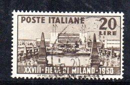 XP1724 - REPUBBLICA 1950 , N. 616 Usato  Fiera Milano - 6. 1946-.. Repubblica